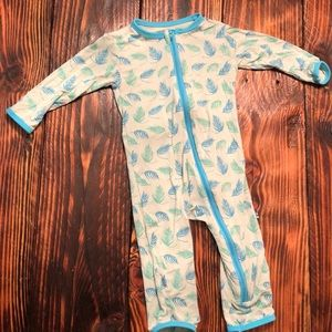 KicKee Pants feather pattern zip up one piece